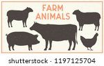 Vector Farm Animals Vintage Se...