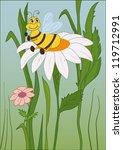 funny bee on flower   Shutterstock .eps vector #119712991