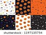 halloween doodle seamless... | Shutterstock .eps vector #1197135754