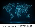polygonal world map. dots and... | Shutterstock .eps vector #1197151657