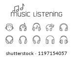 thin line music listening icons ... | Shutterstock .eps vector #1197154057