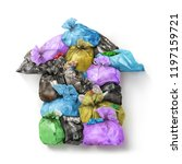 pollution concept. garbage bags ... | Shutterstock . vector #1197159721