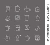 coffee and tea thin line icons...   Shutterstock .eps vector #1197162847