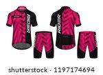 cycling jerseys mockup t shirt... | Shutterstock .eps vector #1197174694
