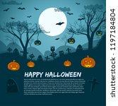 happy halloween background with ...   Shutterstock .eps vector #1197184804