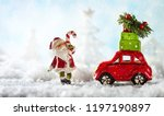 santa claus and red toy car... | Shutterstock . vector #1197190897