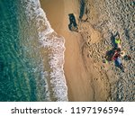 beautiful beach with family top ...   Shutterstock . vector #1197196594