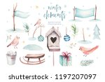 watercolor merry christmas... | Shutterstock . vector #1197207097