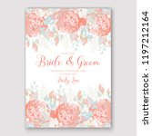 rose wedding invitation floral... | Shutterstock .eps vector #1197212164