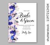 rose wedding invitation floral... | Shutterstock .eps vector #1197212434