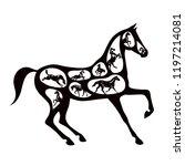 concept black horse silhouette... | Shutterstock .eps vector #1197214081