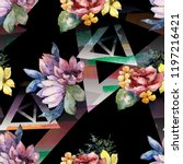 watercolor colorful bouquet...   Shutterstock . vector #1197216421