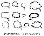 doodle chat cartoon bubbles.... | Shutterstock .eps vector #1197220441