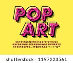 Stock vector modern retro old pop art font effect with rich texture pattern and shadow 1197223561