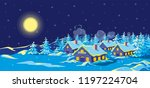night winter landscape with... | Shutterstock .eps vector #1197224704