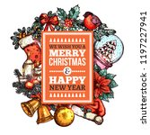 merry christmas greeting card...   Shutterstock .eps vector #1197227941