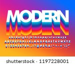modern rainbow layered alphabet ... | Shutterstock .eps vector #1197228001