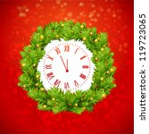 christmas background with clock | Shutterstock .eps vector #119723065