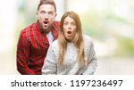young couple in love wearing...   Shutterstock . vector #1197236497