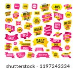 sales banner. super mega... | Shutterstock .eps vector #1197243334
