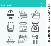 contains such icons as dumpling ... | Shutterstock .eps vector #1197254164
