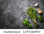 spices and herbs over black... | Shutterstock . vector #1197260947