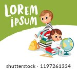 kids sitting on piles of books. ... | Shutterstock .eps vector #1197261334