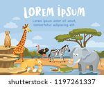 african animals in the nature.... | Shutterstock .eps vector #1197261337