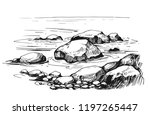 sketch with sea and rocks. hand ... | Shutterstock .eps vector #1197265447