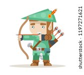 Sharpshooter archer bow arrow elf fantasy medieval action RPG game layered animation ready character vector illustration