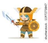 valkyrie female warrior fantasy ... | Shutterstock .eps vector #1197273847