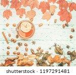 autumn composition  yellow...   Shutterstock . vector #1197291481