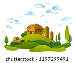 farm in scenic landscape of... | Shutterstock .eps vector #1197299491