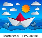 origami paper ship toy swimming ... | Shutterstock .eps vector #1197300601