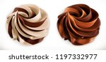 chocolate swirl. 3d vector... | Shutterstock .eps vector #1197332977