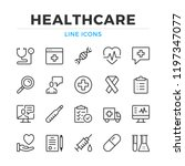 healthcare line icons set.... | Shutterstock .eps vector #1197347077