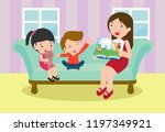 mother reading fairy tales to... | Shutterstock .eps vector #1197349921