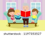 grandfather reading fairy tales ... | Shutterstock .eps vector #1197353527