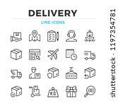 delivery line icons set. modern ... | Shutterstock .eps vector #1197354781