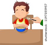 illustration of a boy eating... | Shutterstock .eps vector #1197355957