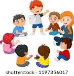 Stock vector kids sitting in a circle reading a poem 1197356017