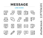 message line icons set. modern... | Shutterstock .eps vector #1197356101