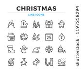 christmas line icons set.... | Shutterstock .eps vector #1197358294