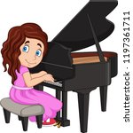 Cartoon Little Girl Playing...