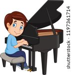 cartoon little boy playing piano | Shutterstock .eps vector #1197361714