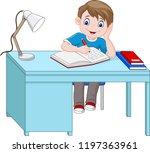cartoon little boy studying | Shutterstock .eps vector #1197363961