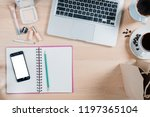 office desk table with laptop... | Shutterstock . vector #1197365104