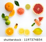 top view of citrus fruits on... | Shutterstock . vector #1197374854