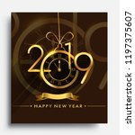 happy new year 2019   new year... | Shutterstock .eps vector #1197375607