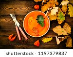 autumnal table setting for... | Shutterstock . vector #1197379837